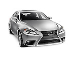 Silver 2016 Lexus IS 300 AWD small luxury sedan isolated car on white background with clipping path Image © MaximImages, License at https://www.maximimages.com