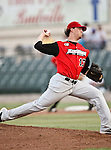 Grand Prairie AirHogs Pitcher John Brownell (17) in action during the American Association of Independant Professional Baseball game between the Grand Prairie AirHogs and the Fort Worth Cats at the historic LaGrave Baseball Field in Fort Worth, Tx. Fort Worth defeats Grand Prairie 6 to 1.....