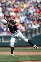 Texas Tech Red Raiders shortstop Josh Jung (16) makes a throw to first base during Game 1 of the NCAA College World Series against the Michigan Wolverines on June 15, 2019 at TD Ameritrade Park in Omaha, Nebraska. Michigan defeated Texas Tech 5-3. (Andrew Woolley/Four Seam Images)