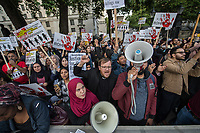 'Rise for Rohingha' protest outside Downing street in Central London. The protestors were demanding that the British Government takes action against Myanmar over its ongoing persecution of Rohingha Muslims. Over 100,000 have fled in neighbouring Bangladesh. 6-9-17