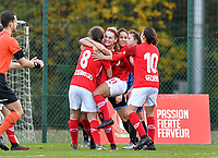 Standard's players and Sylke Calleeuw pictured celebrating after scoring a goal during a female soccer game between Standard Femina de Liege and Club Brugge YLA on the seventh matchday of the 2020 - 2021 season of Belgian Scooore Womens Super League , saturday 14 th of November 2020  in Angleur , Belgium . PHOTO SPORTPIX.BE | SPP | DAVID CATRY