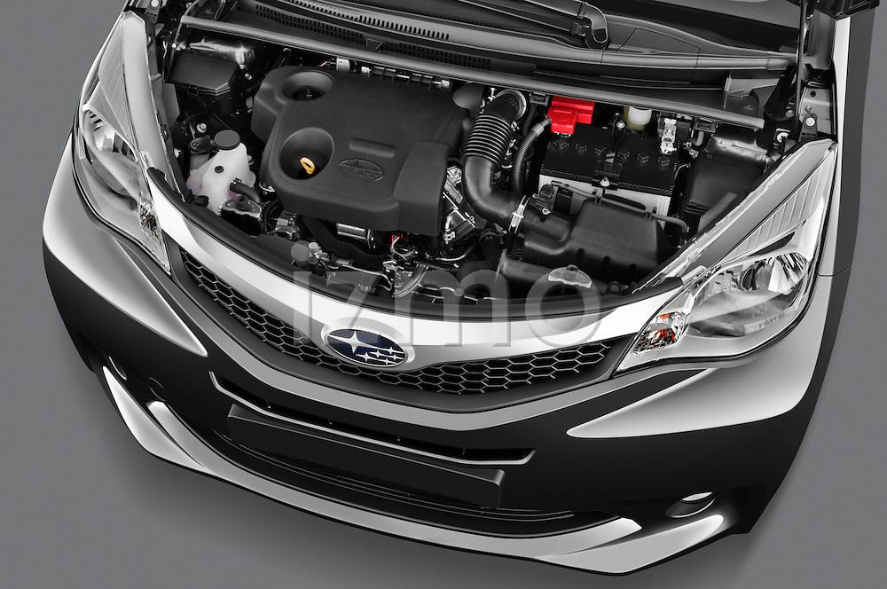 High angle engine detail of a 2011 Subaru Trezia Comfort 5 Door Hatchback .