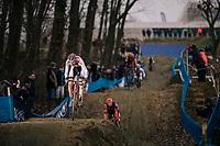 eventual race winner TURNER Ben (GBR/Corendon-Circus) coming down the dirt jump section<br /> <br /> GP Sven Nys (BEL) 2019<br /> U23 Men's Race<br /> DVV Trofee<br /> ©kramon