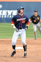 Tanner Pinkston (35) of the Cal State Fullerton Titans runs the bases during a game against the Wichita State Shockers at Goodwin Field on March 13, 2016 in Fullerton, California. Cal State Fullerton defeated Wichita State, 7-1. (Larry Goren/Four Seam Images)