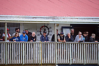 Fans watch from the balcony during the Central League football match between Miramar Rangers and Lower Hutt AFC at David Farrington Park in Wellington, New Zealand on Saturday, 10 April 2021. Photo: Dave Lintott / lintottphoto.co.nz