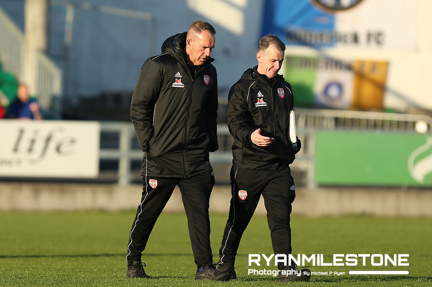 Derry City assistant manager Hugh Harkin with Kenny Shiels ahead of the SSE Airtricity League Premier Division game between Limerick and Derry City on Monday 30th April 2018 at Markets Field, Limerick. Photo By Michael P Ryan