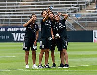 EAST HARTFORD, CT - JULY 5: Members of the Mexican team take a photo during a game between Mexico and USWNT at Rentschler Field on July 5, 2021 in East Hartford, Connecticut.