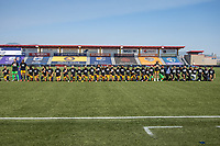 HERRIMAN, UT - JULY 8: Utah Royals FC kneels during national anthem during a game between OL Reign and Utah Royals FC at Zions Bank Stadium on July 8, 2020 in Herriman, Utah.