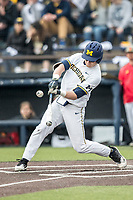 Michigan Wolverines first baseman Jesse Franklin (7) swings the bat against the Maryland Terrapins on April 13, 2018 in a Big Ten NCAA baseball game at Ray Fisher Stadium in Ann Arbor, Michigan. Michigan defeated Maryland 10-4. (Andrew Woolley/Four Seam Images)