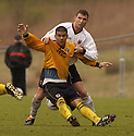 20040417    Copyright Pic: James Stewart.File Name : jspa12_clyde_v_raith.CLYDE'S STUART MCCLUSKEY HOLDS BACK RAITH'S SEBASTIAN FERRERO....James Stewart Photo Agency 19 Carronlea Drive, Falkirk. FK2 8DN      Vat Reg No. 607 6932 25.Office     : +44 (0)1324 570906     .Mobile  : +44 (0)7721 416997.Fax         :  +44 (0)1324 570906.E-mail  :  jim@jspa.co.uk.If you require further information then contact Jim Stewart on any of the numbers above.........