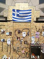 Impromptu memorial for Reese Fallon and Julianna Kozis.