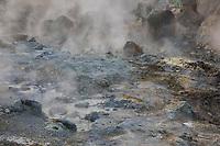 Seltún, Krýsuvík, Austurengjar, Krysuvík, Austurengjar, Seltun, Hochtemperaturgebiet, Geothermalgebiet, Thermalquellen, Thermalquelle, heiße Quellen, Schwefeldampf, Schwefeldämpfe. In dem Hochtemperaturgebiet gibt es Solfataren, also Stellen, an denen Wasserdampf, Schwefelwasserstoff, elementarer Schwefel und andere Mineralien aus der Erde austreten, sowie zahlreiche langsam oder heftig kochende Schlammtöpfe und Fumarolen. Reykjanes-Halbinsel, Island, geothermal area, Iceland