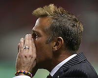 Head coach of Real Salt Lake Jason Kreis yells at his players during a games against D.C. United during the second half of the U.S. Open Cup Final on October  1, 2013 at Rio Tinto Stadium in Sandy, Utah. DC United beat Real Salt Lake 1-0 to win the championship.