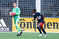 FOXBOROUGH, MA - JUNE 26: Colin Shutler #1 of North Texas SC prepares to pass the ball after a save during a game between North Texas SC and New England Revolution II at Gillette Stadium on June 26, 2021 in Foxborough, Massachusetts.
