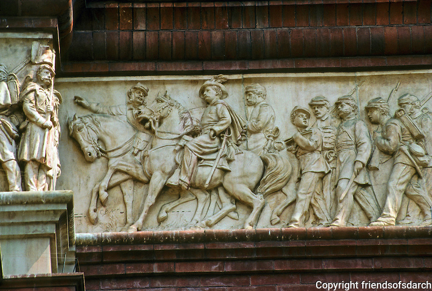 Washington D.C. : Pension Building, 1887. Detail of 1200 foot frieze of terra cotta. Designed by Caspar Buberl (1834-1889). Six Civil War units repeated. Photo '91.