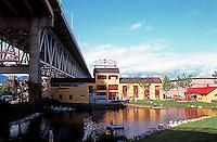 Vancouver: False Creek Tour--Ends at entrance to Granville Island beneath Granville Bridge. Photo '86.
