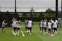 14th September 2021: The  AXA Training Centre , Kirkby, Knowsley, Merseyside, England: Liverpool FC training ahead of Champions League game versus AC Milan on 15th September: the Liverpool players begin their warm up supervised by fitness coach Andreas Kornmeyer