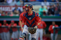 Lowell Spinners catcher Jaxx Groshans (15) during a NY-Penn League Semifinal Playoff game against the Batavia Muckdogs on September 4, 2019 at Dwyer Stadium in Batavia, New York.  Batavia defeated Lowell 4-1.  (Mike Janes/Four Seam Images)