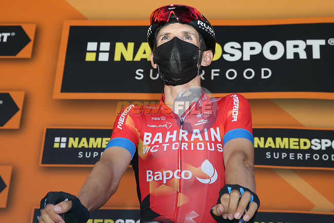Gino Mäder (SUI) Bahrain Victorious at sign on before Stage 8 of Paris-Nice 2021, running 92.7km from Le Plan-du-Var to Levens, France. 14th March 2021.<br /> Picture: ASO/Fabien Boukla | Cyclefile<br /> <br /> All photos usage must carry mandatory copyright credit (© Cyclefile | ASO/Fabien Boukla)