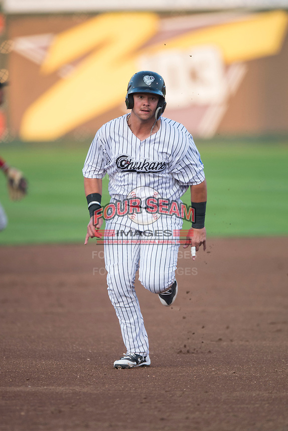 Idaho Falls Chukars designated hitter Chase Vallot (44) hustles towards third base during a Pioneer League game against the Great Falls Voyagers at Melaleuca Field on August 18, 2018 in Idaho Falls, Idaho. The Idaho Falls Chukars defeated the Great Falls Voyagers by a score of 6-5. (Zachary Lucy/Four Seam Images)