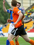 St Johnstone v Dundee United...27.08.11   SPL Week 5.David Robertson gets a kick in the face for a penalty from Johnny Russell.Picture by Graeme Hart..Copyright Perthshire Picture Agency.Tel: 01738 623350  Mobile: 07990 594431