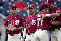 Florida State Seminoles head coach Mike Martin (11) before Game 2 of the NCAA College World Series against the Arkansas Razorbacks on June 15, 2019 at TD Ameritrade Park in Omaha, Nebraska. Florida State defeated Arkansas 1-0. (Andrew Woolley/Four Seam Images)