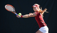 STANFORD, CA - MARCH 1, 2015--Stanford women's tennis player Caroline Doyle celebrates scoring a point against a CAL Berkley player during Sunday's match at  at the Taube Family Tennis Stadium.