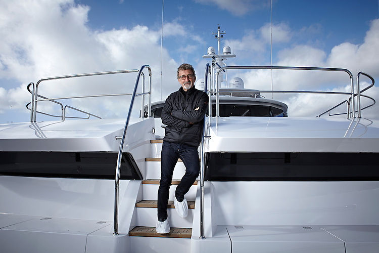 © John Angerson<br /> 140221 - Eddie Jordon with his new Sunseeker 155 foot Superyacht moored in Poole, Dorset harbour.