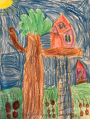 """Treehouse' by Reese Goslin, Grade K, Yarmouth, ME, USA"