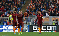 From left, Roma's Federico Fazio, Radja Nainggolan and Daniele De Rossi react after Napoli's Dries Mertens, not seen, scored his first goal during the Italian Serie A football match between Roma and Napoli at Rome's Olympic stadium, 4 March 2017. Napoli won 2-1.<br /> UPDATE IMAGES PRESS/Riccardo De Luca