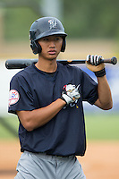 Gosuke Katoh (28) of the Pulaski Yankees during batting practice prior to the game against the Burlington Royals at Burlington Athletic Park on August 6, 2015 in Burlington, North Carolina.  The Royals defeated the Yankees 1-0. (Brian Westerholt/Four Seam Images)
