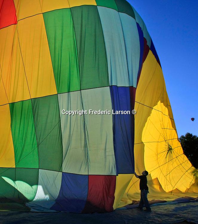 Preparation before flight of a hot air balloon over Napa Valley California.
