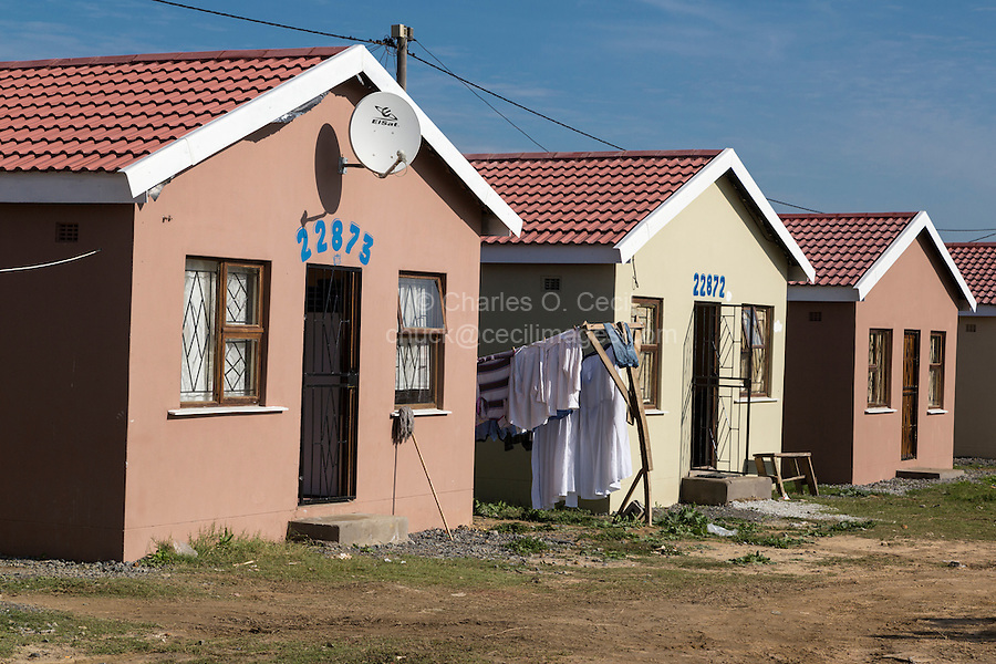 South Africa, Cape Town.  New Houses, Wallacedene Township, Kraaifontein, a suburb of Cape Town.