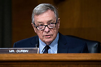 """United States Senator Dick Durbin (Democrat of Illinois), makes an opening statement during the US Senate Judiciary Committee hearing titled """"Examining Best Practices for Incarceration and Detention During COVID-19,"""" in Dirksen Building in Washington, D.C. on Tuesday, June 2, 2020. <br /> Credit: Tom Williams / Pool via CNP/AdMedia"""