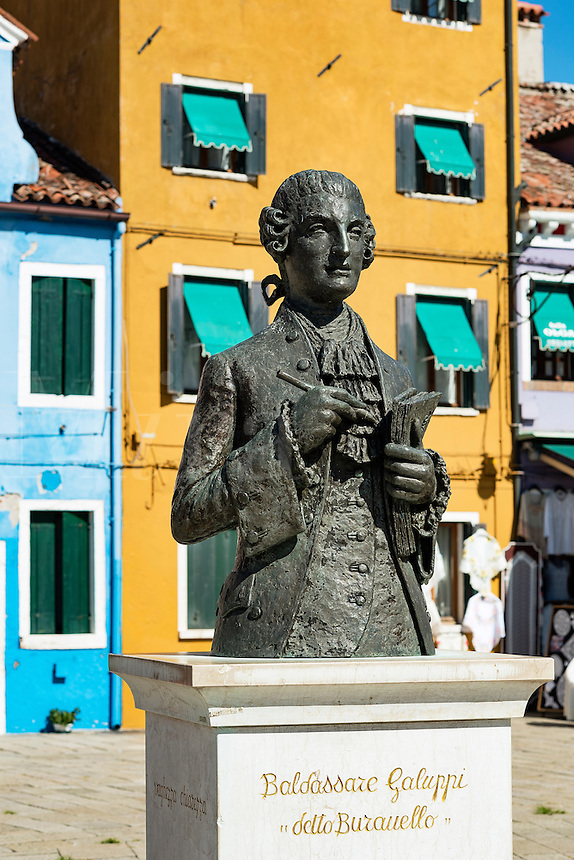 Sculpture monument to Baldassare Galuppi, Italian composer native to the island, Burano, Italy