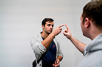 UK. Birmingham. 27th  October 2015<br /> A Lions player goes through a concussion test.<br /> Andrew Testa for  the New York Times