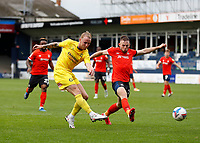 3rd October 2020; Kenilworth Road, Luton, Bedfordshire, England; English Football League Championship Football, Luton Town versus Wycombe Wanderers; Jack Grimmer of Wycombe Wanderers taking a shot past Rhys Norrington-Davies of Luton Town