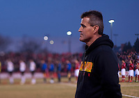 Maryland head coach Sasho Cirovski before the game at Ludwig Field in College Park, MD.  Maryland defeated Louisville, 3-1.