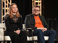 "PASADENA, CA - JANUARY 17: (L-R) Producer Kirstine Barfod and Sound Designer Peter Albrechtsen attend the panel for ""The Cave,"" Storytelling With Courage during the National Geographic presentation at the 2020 TCA Winter Press Tour at the Langham Huntington on January 17, 2020 in Pasadena, California. (Photo by Frank Micelotta/National Geographic/PictureGroup)"