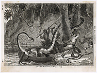 A sleeping native attacked by a Boa Constrictor. / No details / 1834