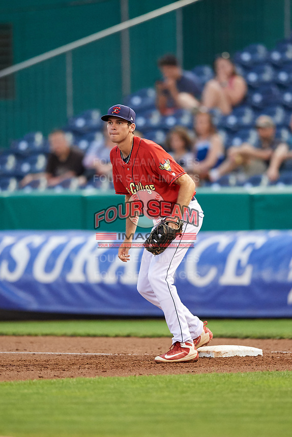 State College Spikes first baseman Brady Whalen (31) during a game against the West Virginia Black Bears on August 30, 2018 at Medlar Field at Lubrano Park in State College, Pennsylvania.  West Virginia defeated State College 5-3.  (Mike Janes/Four Seam Images)