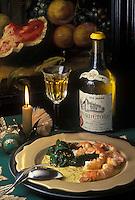 Gastronomie générale/Repas de Réveillon: Langoustines rôties, beurre salé sur une  galette de sésame, épinards croquants, petite sauce au curry, accompagne par un Château L'Etoile