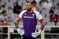 Bartlomiej Dragowski of ACF Fiorentina looks on prior to the Italy cup football match between ACF Fiorentina and Cosenza calcio at Artemio Franchi stadium in Florence (Italy), August 13th, 2021. ACF Fiorentina won 4-0 over Cosenza calcio. Photo Andrea Staccioli / Insidefoto