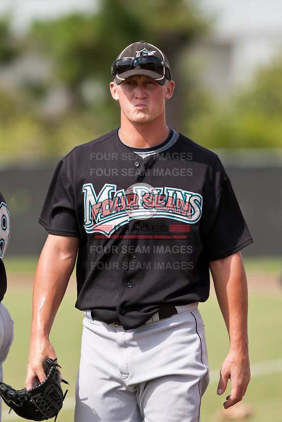 Daniel Mahoney of the Gulf Coast League Marlins at the Osceola Heritage Park in Kissimmee, Florida July 22 2010. Photo By Scott Jontes/Four Seam Images