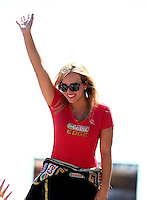 Jul. 21, 2013; Morrison, CO, USA: NHRA top fuel dragster driver Brittany Force during the Mile High Nationals at Bandimere Speedway. Mandatory Credit: Mark J. Rebilas-