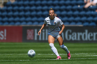 BRIDGEVIEW, IL - JUNE 5: Merritt Mathias #11 of the North Carolina Courage plays the ball during a game between North Carolina Courage and Chicago Red Stars at SeatGeek Stadium on June 5, 2021 in Bridgeview, Illinois.