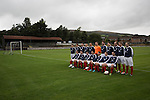 Vale of Leven 3 Ashfield 4, 03/09/2016. Millburn Park, West of Scotland League Central District Second Division. The home players lining up for their annual team photo at Millburn Park, Alexandria, before Vale of Leven hosted Ashfield in a West of Scotland League Central District Second Division Junior fixture. Vale of Leven were one of the founder members of the Scottish League in 1890 and remained part of the SFA and League structure until 1929 when the original club folded, only to be resurrected as a member of the Scottish Junior Football Association after World War II. They lost the match to Ashfield by 4-3, having led 3-1 with 10 minutes remaining. Photo by Colin McPherson.