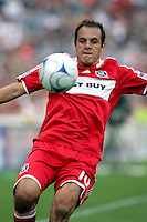 Chicago Fire midfielder Cuauhtemoc Blanco (10) prepares to kick the ball.  The Columbus Crew tied the Chicago Fire 2-2 at Toyota Park in Bridgeview, IL on September 20, 2009.