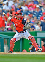 3 September 2012: Washington Nationals catcher Kurt Suzuki in action against the Chicago Cubs at Nationals Park in Washington, DC. The Nationals edged out the visiting Cubs 2-1, in the first game of heir 4-game series. Mandatory Credit: Ed Wolfstein Photo