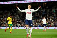 26th August 2021; Tottenham Hotspur Stadium, London, England; Europa Conference League football, Tottenham Hotspur versus Paços de Ferreira; Son Heung-Min of Tottenham Hotspur reacts as his shot is saved